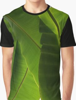 Luscious Tropical Greens - Huge Leaves Patterns - Vertical View Downward Right  Graphic T-Shirt
