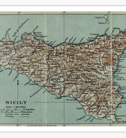 Vintage Map of Sicily Italy (1911) Sticker