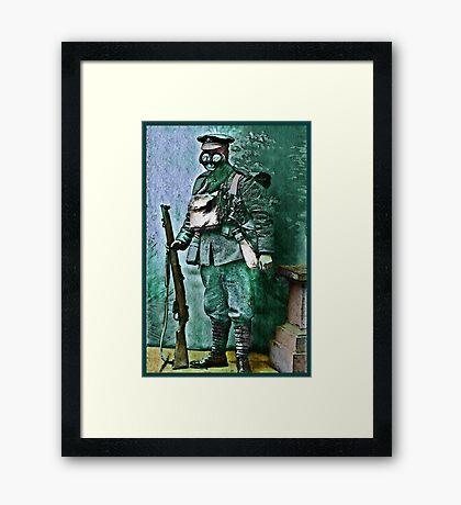 Infantry Soldier in Full Gear Portrait Framed Print