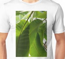 Luscious Tropical Greens - Huge Leaves Patterns - Vertical View Downward Left Unisex T-Shirt