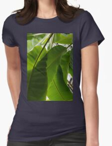 Luscious Tropical Greens - Huge Leaves Patterns - Vertical View Downward Left Womens Fitted T-Shirt