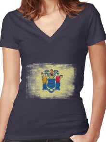 New Jersey State Flag Distressed Vintage Women's Fitted V-Neck T-Shirt