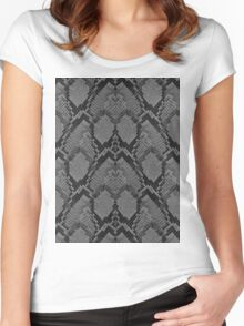 Black and Grey Faded Python Snake Skin Reptile Skin Women's Fitted Scoop T-Shirt