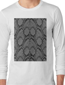 Black and Grey Faded Python Snake Skin Reptile Skin Long Sleeve T-Shirt
