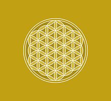 Flower of Life – Golds & White by NataliePaskell