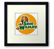 Save Wildlife Emblem with Lion Framed Print