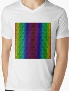 Bright Neon Rainbow Python Vertical Snake Skin Mens V-Neck T-Shirt