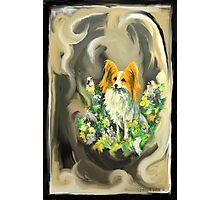 Papillon~Dog~Flowers~~Love~ Photographic Print