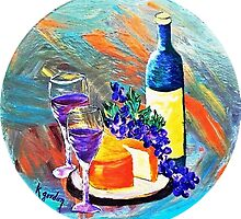 A Bottle Wine, A Hunk of Cheese & A Bunch of Grapes by WhiteDove Studio kj gordon