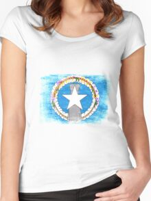 Northern Mariana Islands State Flag Distressed Vintage Women's Fitted Scoop T-Shirt