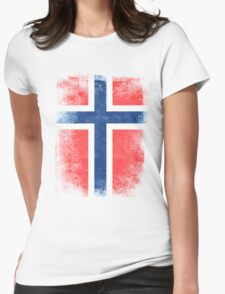 Norway Flag Proud Norwegian Vintage Distressed Womens Fitted T-Shirt