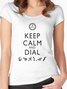 Keep Calm and Dial Earth (black) Women's Fitted Scoop T-Shirt