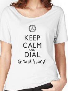 Keep Calm and Dial Earth (black) Women's Relaxed Fit T-Shirt