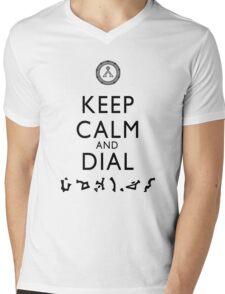 Keep Calm and Dial Earth (black) Mens V-Neck T-Shirt