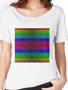 Bright Metallic Rainbow Python Snake Skin Horizontal Reptile Scales Women's Relaxed Fit T-Shirt