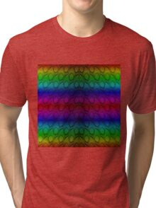 Bright Metallic Rainbow Python Snake Skin Horizontal Reptile Scales Tri-blend T-Shirt