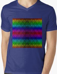Bright Metallic Rainbow Python Snake Skin Horizontal Reptile Scales Mens V-Neck T-Shirt