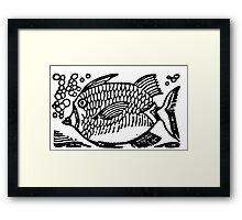 Woodcut Fish  Framed Print