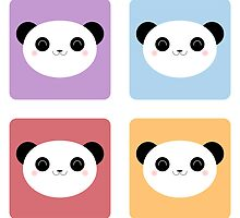 Kawaii Happy Panda Pop Pattern by Lisa Marie Robinson