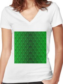 Neon Green and Black Snake Skin Reptile Scales Women's Fitted V-Neck T-Shirt
