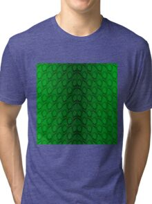 Neon Green and Black Snake Skin Reptile Scales Tri-blend T-Shirt