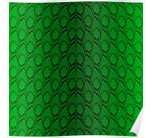 Neon Green and Black Snake Skin Reptile Scales Poster