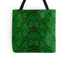 Neon Green and Black Snake Skin Reptile Scales Tote Bag