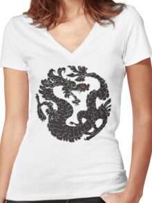 Oriental Dragon in Black 2 Women's Fitted V-Neck T-Shirt