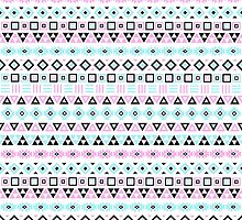 Aztec Influence Pattern III Blue Black Pink White by NataliePaskell