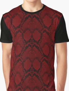 Red and Black Python Snake Skin Reptile Scales Graphic T-Shirt