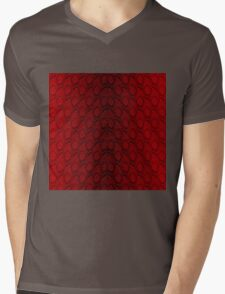 Red and Black Python Snake Skin Reptile Scales Mens V-Neck T-Shirt