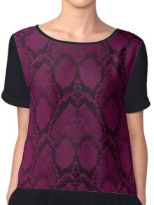 Hot Neon Pink and Black Python Snake Skin Reptile Scales Chiffon Top