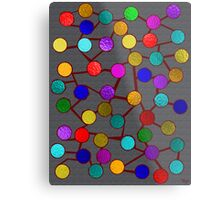 Dots and Sticks Red Metal Print