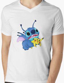 Stitch and Pikachu Mens V-Neck T-Shirt