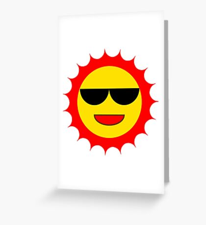 Cartoon Sun With Shades Greeting Card