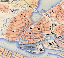 Vintage Map of Hamburg Germany (1888) Sticker