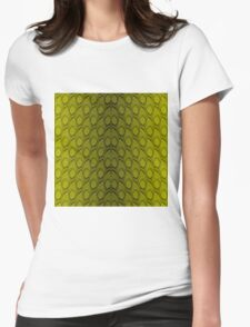 Golden Yellow and Black Python Snake Skin Reptile Scales Womens Fitted T-Shirt