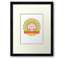 Retro Badge Seventies Orange Green Framed Print
