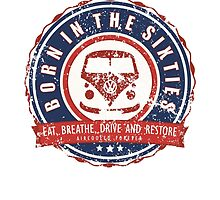 Retro Badge Sixties Red Blue Grunge by splashgti