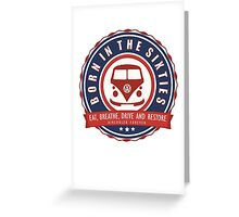 Retro Badge Sixties Red Blue Greeting Card