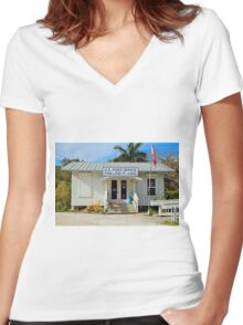 Pineland Post Office II Women's Fitted V-Neck T-Shirt
