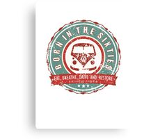 Retro Badge Sixties Red Green Grunge Canvas Print