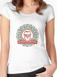 Retro Badge Sixties Red Green Grunge Women's Fitted Scoop T-Shirt