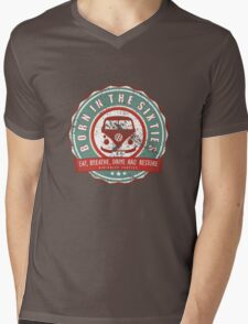 Retro Badge Sixties Red Green Grunge Mens V-Neck T-Shirt