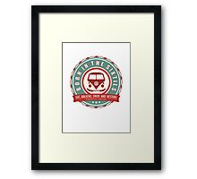 Retro Badge Sixties Red Green Framed Print