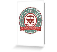 Retro Badge Sixties Red Green Greeting Card
