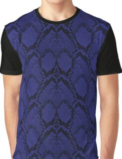 Midnight Blue Python Snake Skin Reptile Scales Graphic T-Shirt