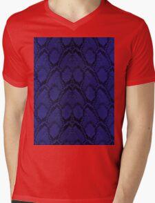 Midnight Blue Python Snake Skin Reptile Scales Mens V-Neck T-Shirt