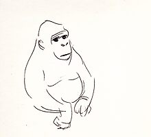 Gorilla sketch - at the zoo by Rebecca Rees