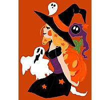 Witch Holding a Pumpkin Photographic Print